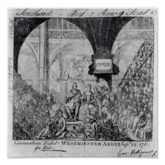 Ticket for the Coronation of George III Poster