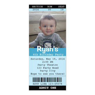 Ticket Invitation (Blue) with Photo -Theatre/Movie