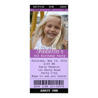 """Ticket Invitation (Purple) Photo -Theatre/Movie 4"""" X 9.25"""" Invitation Card"""