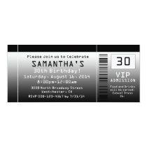 """Ticket Invitations, Black + White 4"""" X 9.25"""" Invitation Card"""
