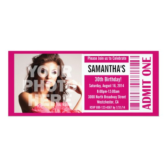 Ticket Invitations, Pink Ticket Card