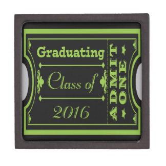 Ticket Look Graduating Class of 2016, Green, Black Jewelry Box