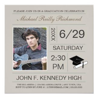 Ticket Photo Graduation Invite: Tan Card
