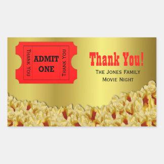 Ticket & Popcorn Movie Night Party Favor Stickers