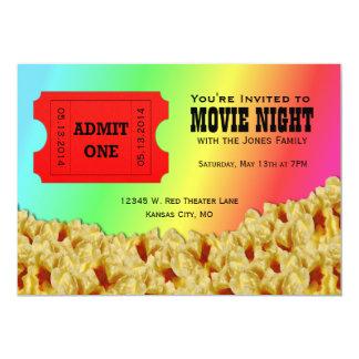 "Ticket & Popcorn Movie Night Party Invitations 5"" X 7"" Invitation Card"