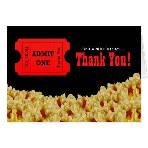 Ticket & Popcorn Movie Night Thank You Note Card | Zazzle