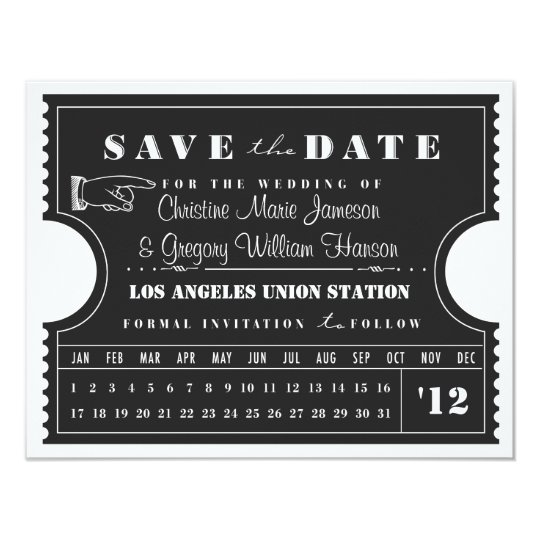 Ticket Punch Card Save the Date