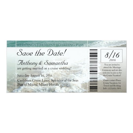 Ticket Save Date, Beach Destination Wedding Cruise Card