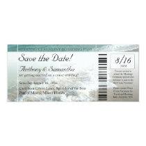 Ticket Save Date, Beach Destination Wedding Cruise Invitation