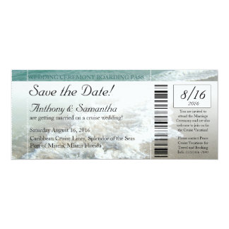 Ticket Save Date, Beach Destination Wedding Cruise 4x9.25 Paper Invitation Card