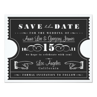Ticket Save the Date 4.25x5.5 Paper Invitation Card