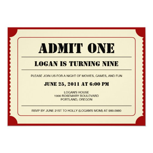Ticket Stub Party Invitation