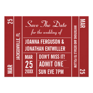 Ticket Stub Red Save The Date Invitation