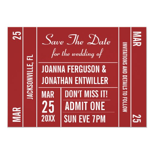 "Ticket Stub (Red) Save The Date Invitation 4.5"" X 6.25"" Invitation Card"