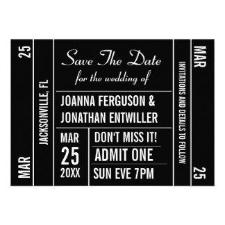 Ticket Stub Save The Date Invitation