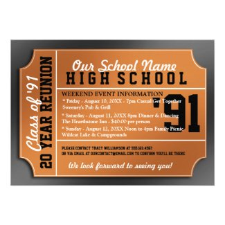 Ticket Style Black/Orange Class Reunion Invitations