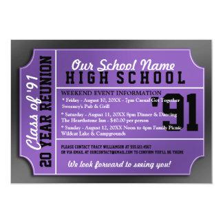 Ticket Style Black/Purple Class Reunion Card