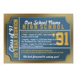 "Ticket Style Blue/Gold Class Reunion 5"" X 7"" Invitation Card"