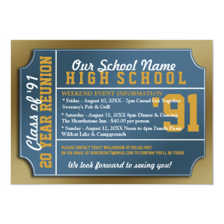 Ticket Style Blue/Gold Class Reunion 5x7 Paper Invitation Card