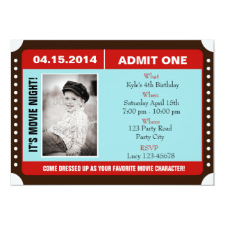 """Ticket Style Invitation with Photo - Blue Red 5"""" X 7"""" Invitation Card"""