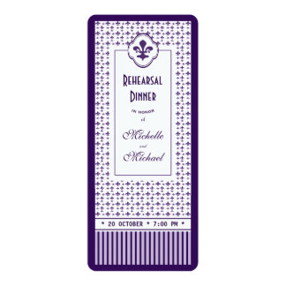 "Ticket Style Purple Fleur de Lis Rehearsal Dinner 4"" X 9.25"" Invitation Card"