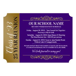 Ticket Style Purple/Gold Class Reunion Invitation