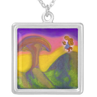 Ticket to a Fantasy World Square Pendant Necklace