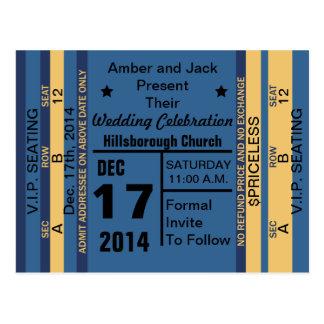 Ticket To Fun Save The Date Postcard