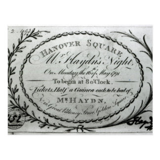 Ticket to 'Mr. Haydn's Night' in Hanover Postcard