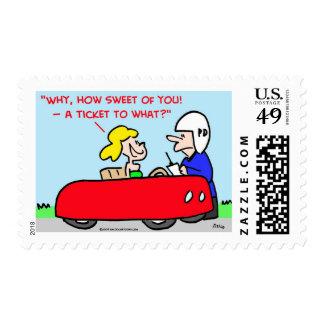 ticket to what cop speeder postage stamps