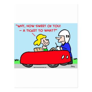 ticket to what cop speeder postcard