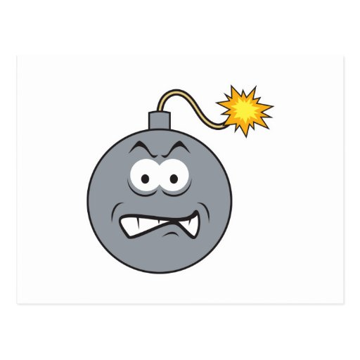 Ticking Bomb Smiley Face Postcard