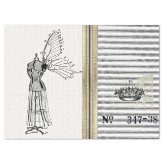 Ticking Burlap Dress Form Fairy Tissue Paper