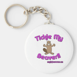 Tickle My Beaver Basic Round Button Keychain