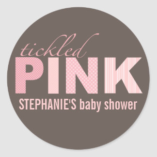 Tickled Pink Baby Girl Modern Baby Shower Sticker