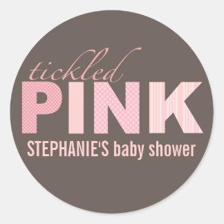 Tickled Pink Baby Girl Modern Baby Shower Sticker