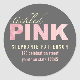 Tickled Pink Modern Girl Return Address Sticker