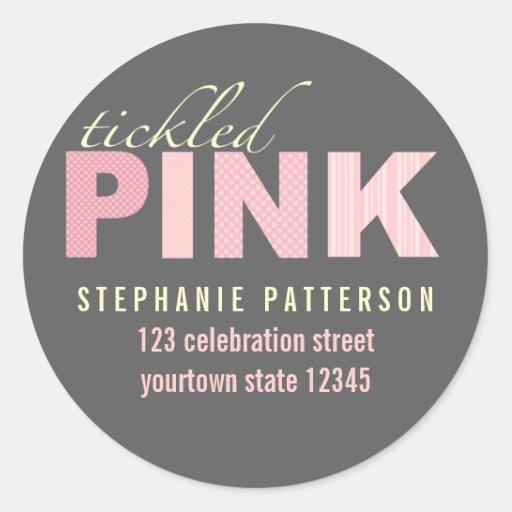 Tickled Pink Modern Girl Return Address Sticker