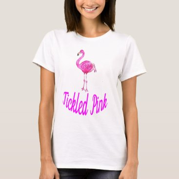 Beach Themed Tickled Pink - Watercolor Pink Flamingo T-Shirt