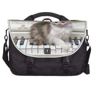 Tickling The Ivorys Kitten Laptop Messenger Bag