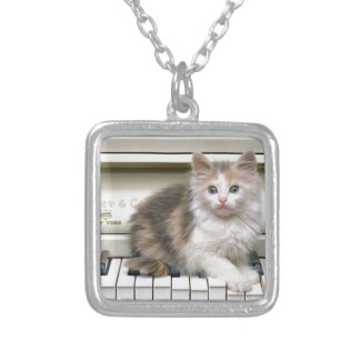 Tickling The Ivorys Kitten Silver Plated Necklace