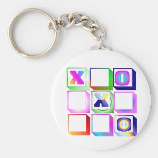 ticktactoe basic round button keychain