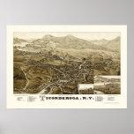 Ticonderoga, NY Panoramic Map - 1884 Poster
