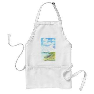 Tidal Marsh and Sky - watercolor pencil Adult Apron