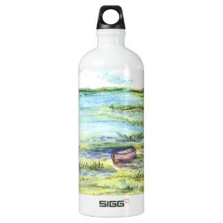 Tidal Marsh and Sky - watercolor pencil Aluminum Water Bottle