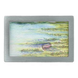 Tidal Marsh and Sky - watercolor pencil Rectangular Belt Buckle