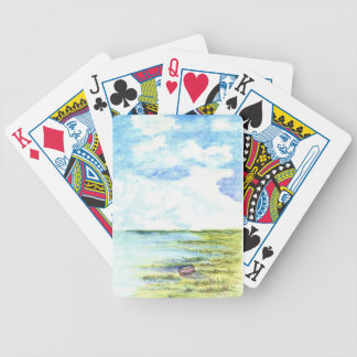 Tidal Marsh and Sky - watercolor pencil Bicycle Playing Cards
