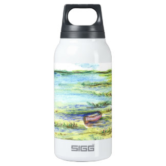 Tidal Marsh and Sky - watercolor pencil Insulated Water Bottle