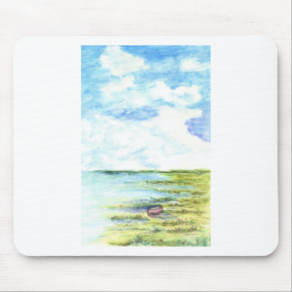 Tidal Marsh and Sky - watercolor pencil Mouse Pad