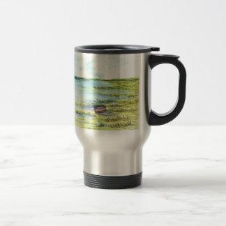 Tidal Marsh and Sky - watercolor pencil Travel Mug